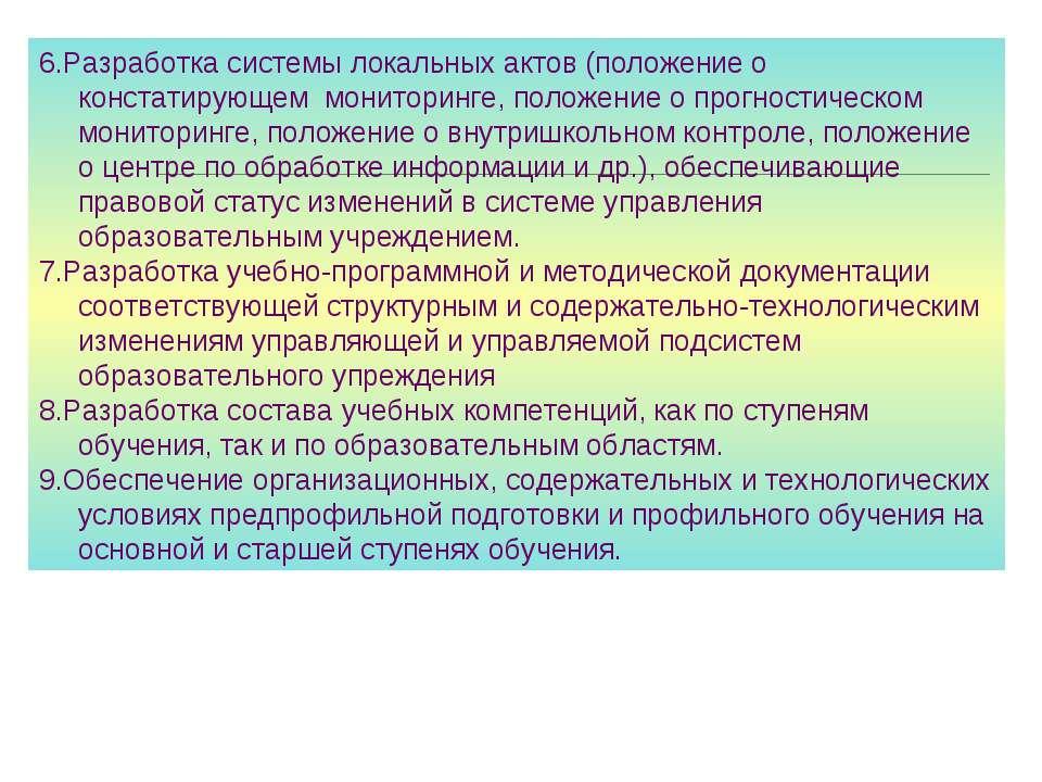 6.Разработка системы локальных актов (положение о констатирующем мониторинге,...
