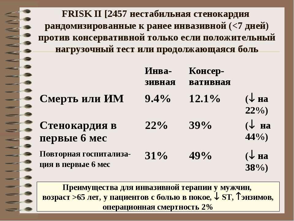 FRISK II [2457 нестабильная стенокардия рандомизированные к ранее инвазивной ...