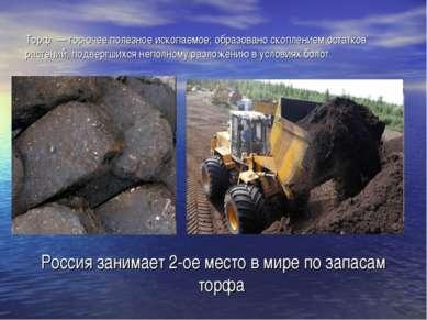 Торф — горючее полезное ископаемое; образовано скоплением остатков растений, ...