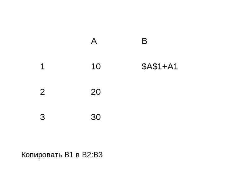 Копировать B1 в B2:B3 A B 1 10 $A$1+A1 2 20 3 30