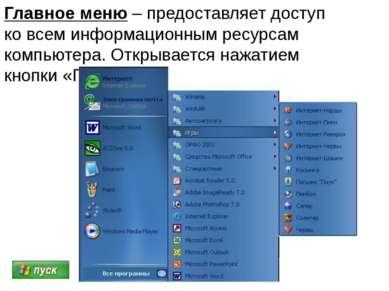 Главное меню – предоставляет доступ ко всем информационным ресурсам компьютер...
