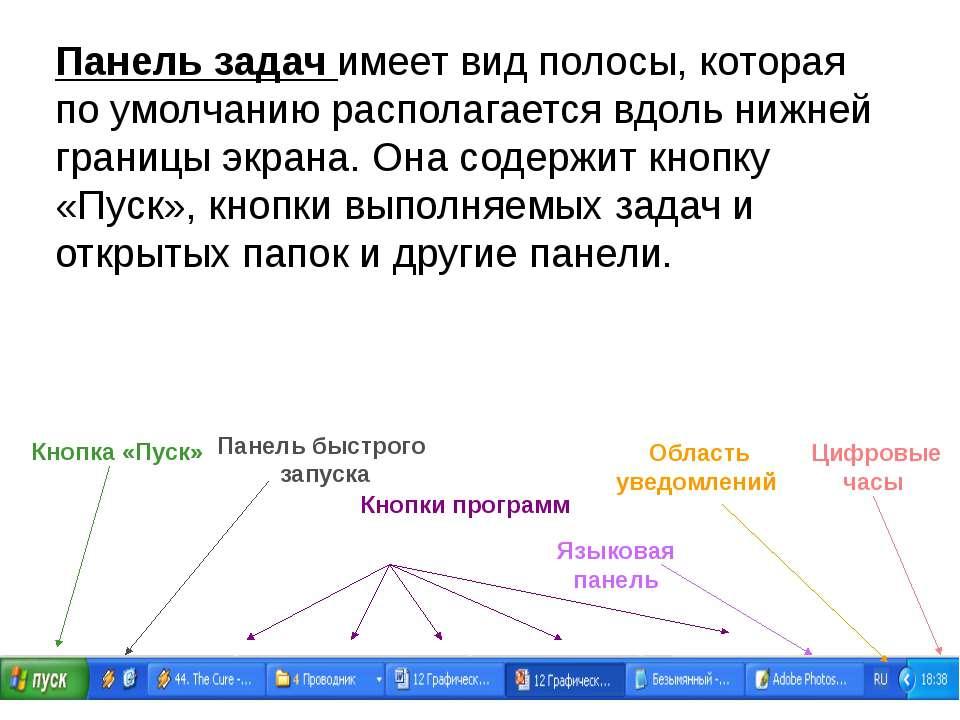 Панель задач имеет вид полосы, которая по умолчанию располагается вдоль нижне...