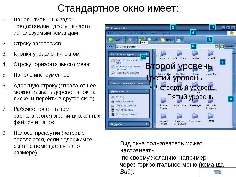 Стандартное окно имеет: Панель типичных задач - предоставляет доступ к часто ...