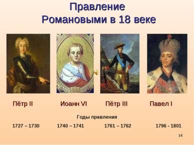 * Правление Романовыми в 18 веке Пётр II Иоанн VI Пётр III Павел I Годы правл...