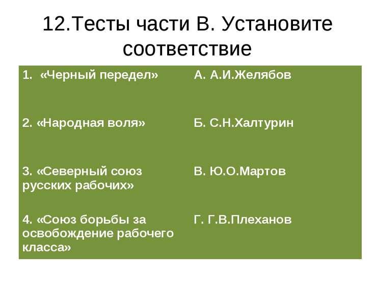 12.Тесты части В. Установите соответствие 1. «Черный передел» А. А.И.Желябов ...