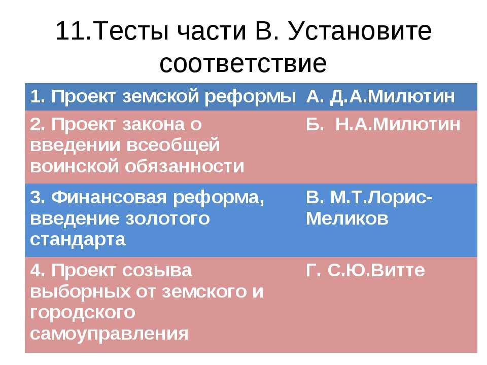 11.Тесты части В. Установите соответствие 1. Проект земской реформы А. Д.А.Ми...