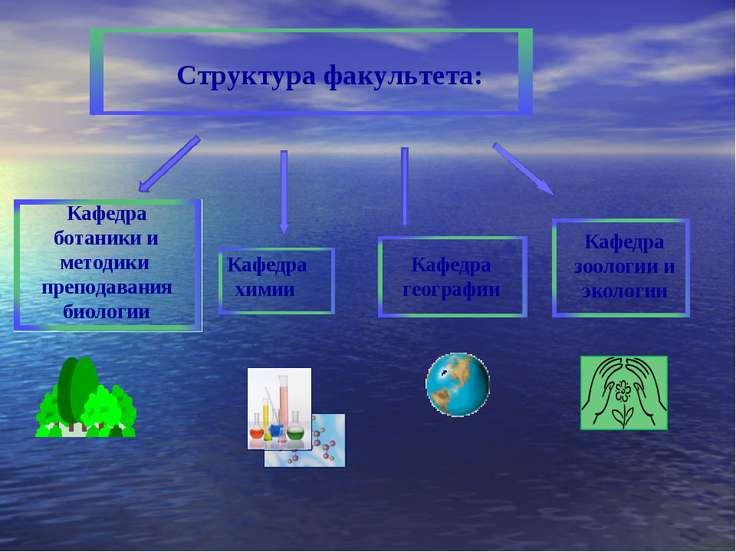 Структура факультета: Кафедра химии Кафедра ботаники и методики преподавания ...