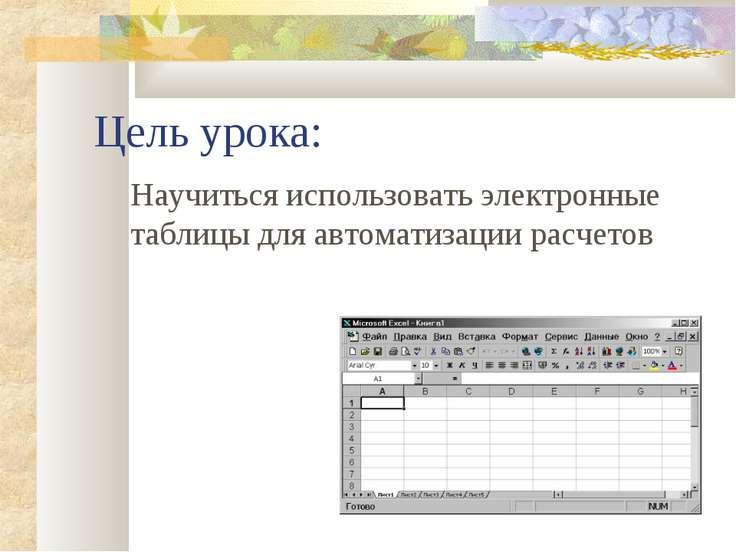 Цель урока: Научиться использовать электронные таблицы для автоматизации расч...