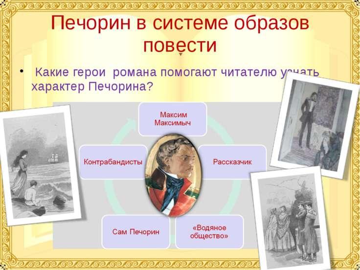 Печорин в системе образов повести Какие герои романа помогают читателю узнать...