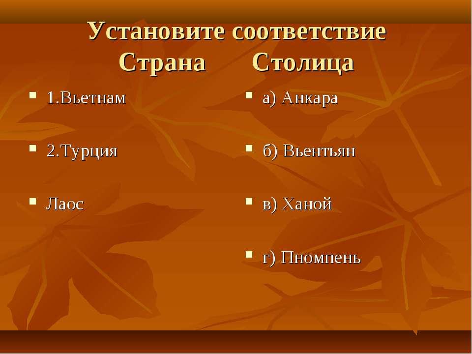 Установите соответствие Страна Столица 1.Вьетнам 2.Турция Лаос а) Анкара б) В...