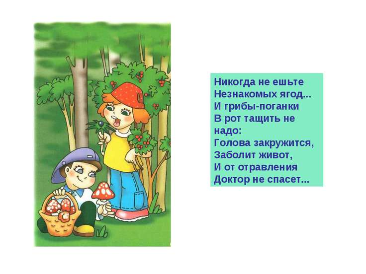 Никогда не ешьте Незнакомых ягод... И грибы-поганки В рот тащить не надо: Гол...