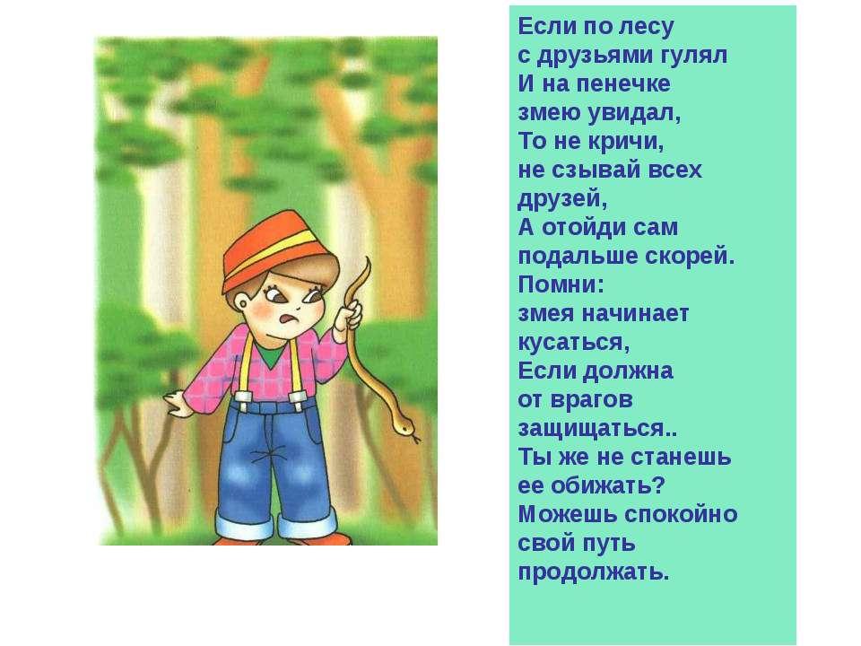 Если по лесу с друзьями гулял И на пенечке змею увидал, То не кричи, не сзыва...