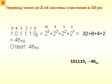 Перевод чисел из 2-ой системы счисления в 10-ую 32 8 4 2 32+8+4+2 1011102→4610