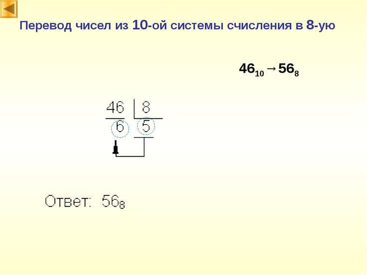 Перевод чисел из 10-ой системы счисления в 8-ую 4610→568