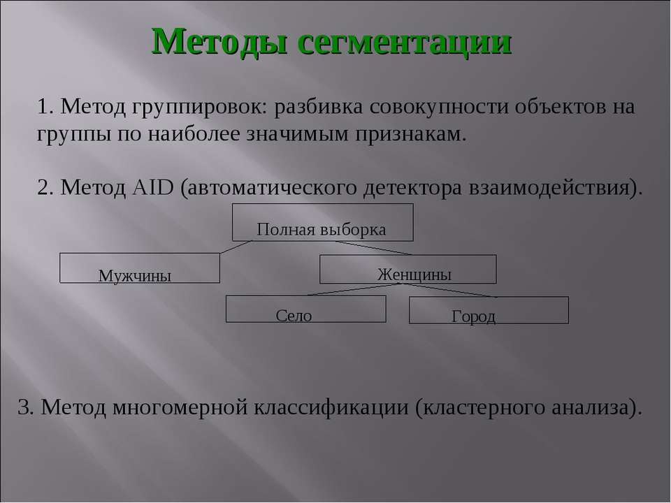 Методы сегментации 1. Метод группировок: разбивка совокупности объектов на гр...