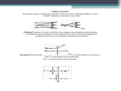 Вариант 2 (I уровень) Как называются линзы, изображенные на рисунке 1? Кака...
