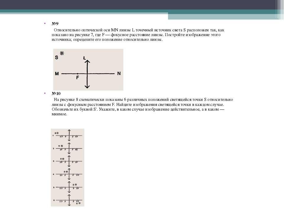 №9 Относительно оптической оси MN линзы L точечный источник света S расположе...