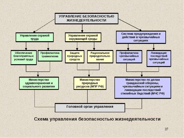 Схема управления безопасностью жизнедеятельности *