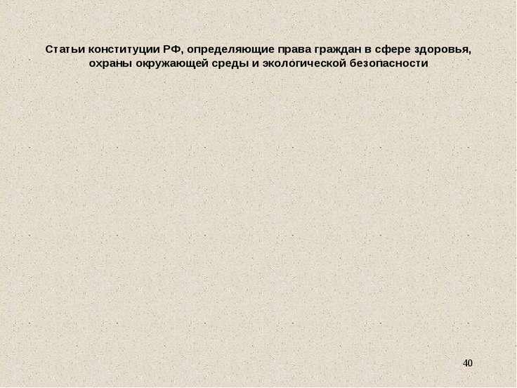 Статьи конституции РФ, определяющие права граждан в сфере здоровья, охраны ок...
