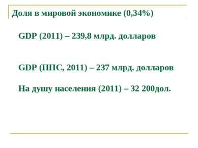 Доля в мировой экономике (0,34%) GDP (2011) – 239,8 млрд. долларов GDP (ППС, ...