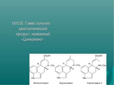 1810 Б. Гомес получил кристаллический продукт, названный «Цинхонино»