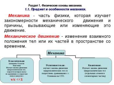 Раздел 1. Физические основы механики. 1.1. Предмет и особенности механики. Ме...