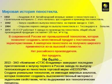 Мировая история пеностекла. 1932 - Академик И.И. Китайгородский впервые заяви...