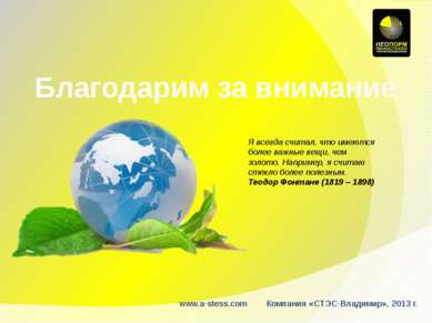 Благодарим за внимание www.a-stess.com Компания «СТЭС-Владимир», 2013 г. Я вс...