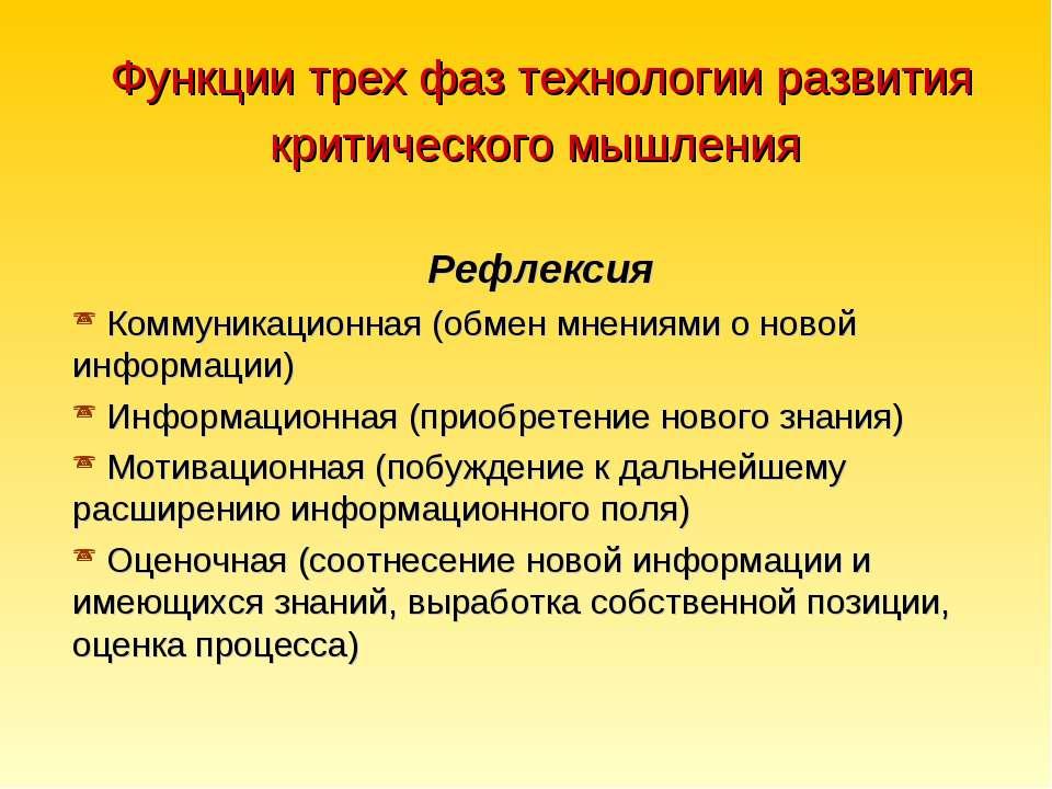 Функции трех фаз технологии развития критического мышления Рефлексия Коммуник...