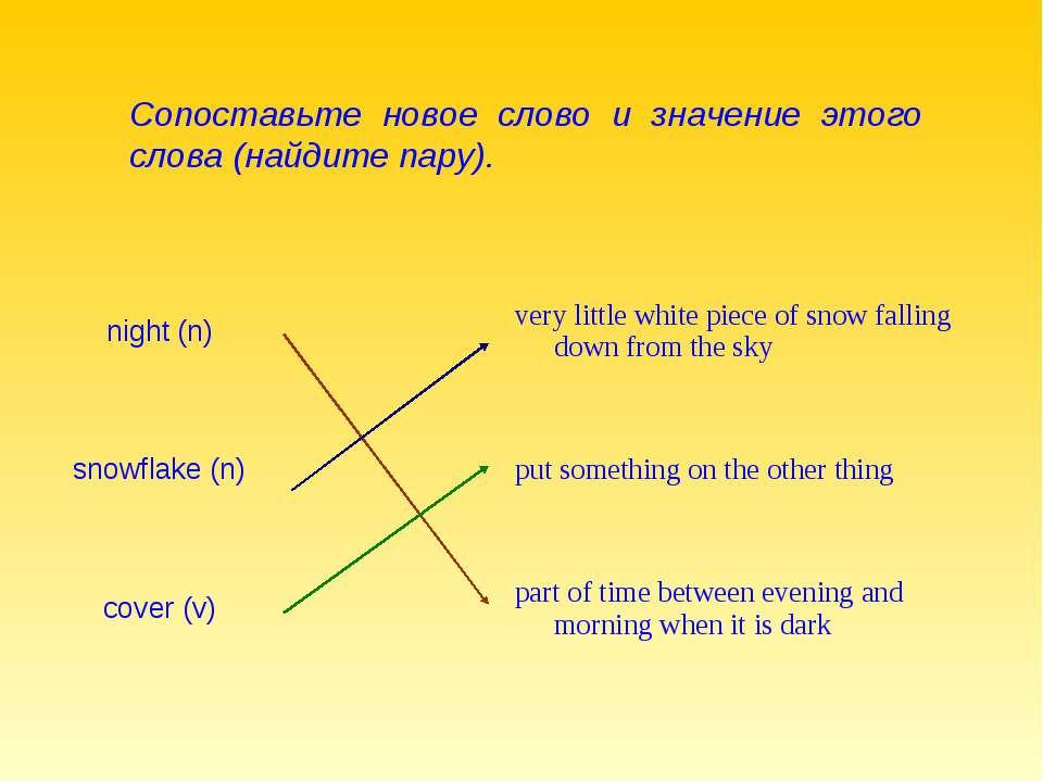 Сопоставьте новое слово и значение этого слова (найдите пару). night (n) very...