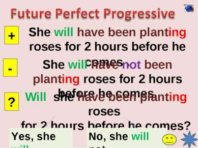 She will have been planting roses for 2 hours before he comes . + - ? She wil...