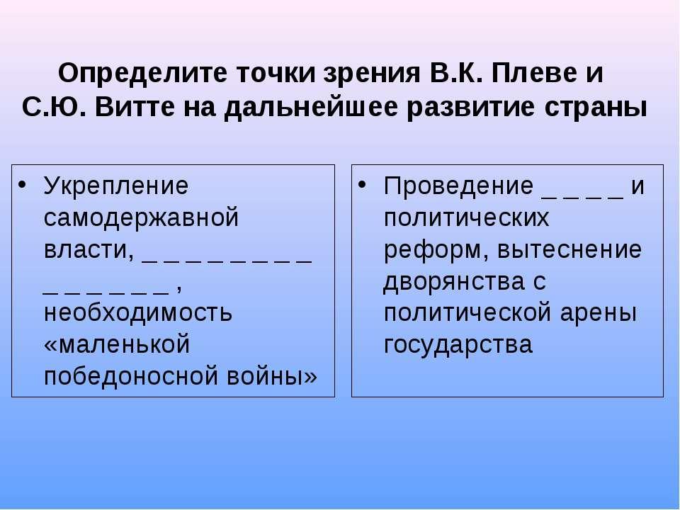 Определите точки зрения В.К. Плеве и С.Ю. Витте на дальнейшее развитие страны...