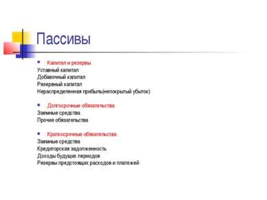 Пассивы Капитал и резервы Уставный капитал Добавочный капитал Резервный капит...