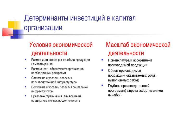 Детерминанты инвестиций в капитал организации Условия экономической деятельно...