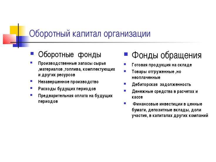 Оборотный капитал организации Оборотные фонды Производственные запасы сырья ,...