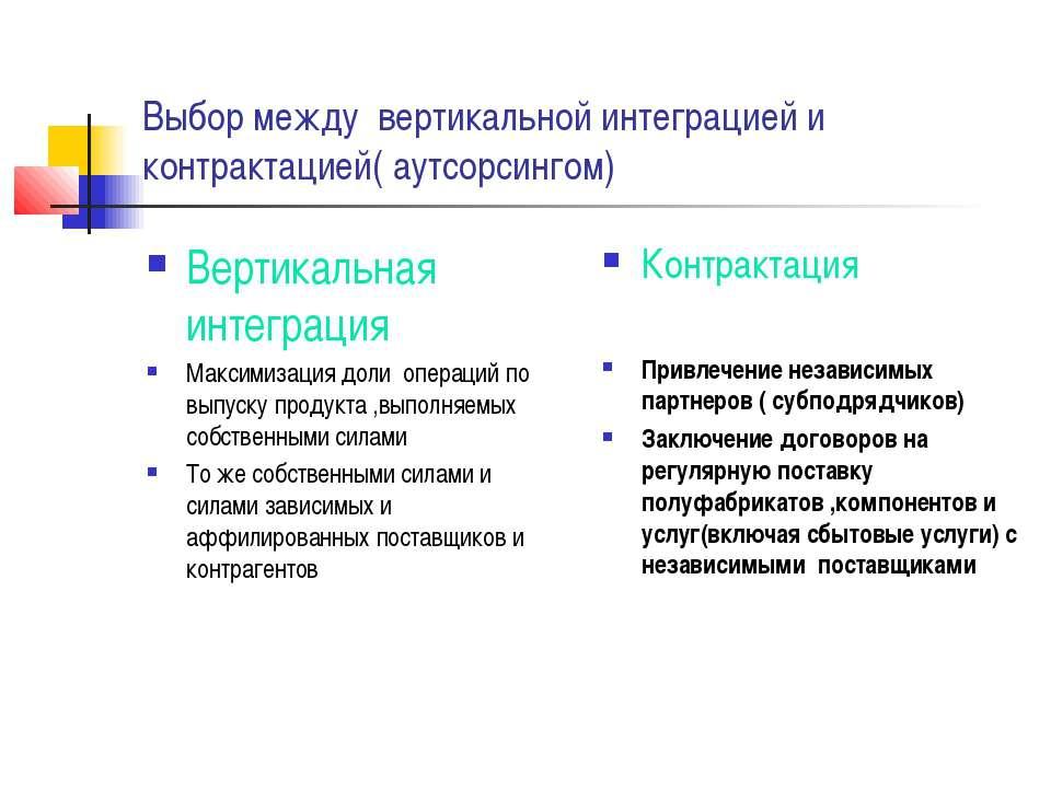 Выбор между вертикальной интеграцией и контрактацией( аутсорсингом) Вертикаль...