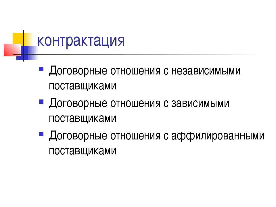 контрактация Договорные отношения с независимыми поставщиками Договорные отно...