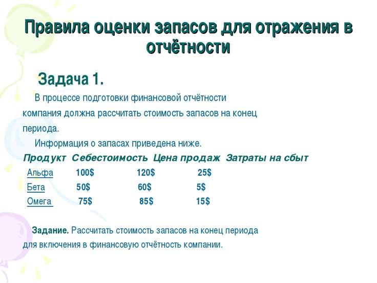 Правила оценки запасов для отражения в отчётности Задача 1. В процессе подгот...