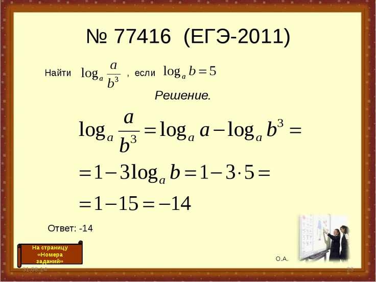 № 77416 (ЕГЭ-2011) Решение. * * Найти , если Ответ: -14 О.А. На страницу «Ном...