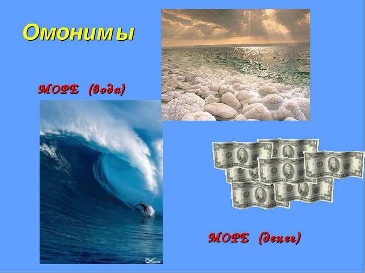 Омоним ы МОРЕ (вода) МОРЕ (денег)
