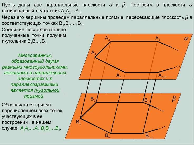 Пусть даны две параллельные плоскости и β. Построим в плоскости произвольный ...