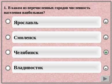 1. В каком из перечисленных городов численность населения наибольшая? Ярослав...