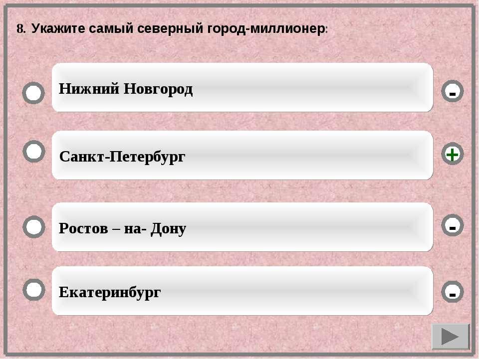 8. Укажите самый северный город-миллионер: Санкт-Петербург Ростов – на- Дону ...