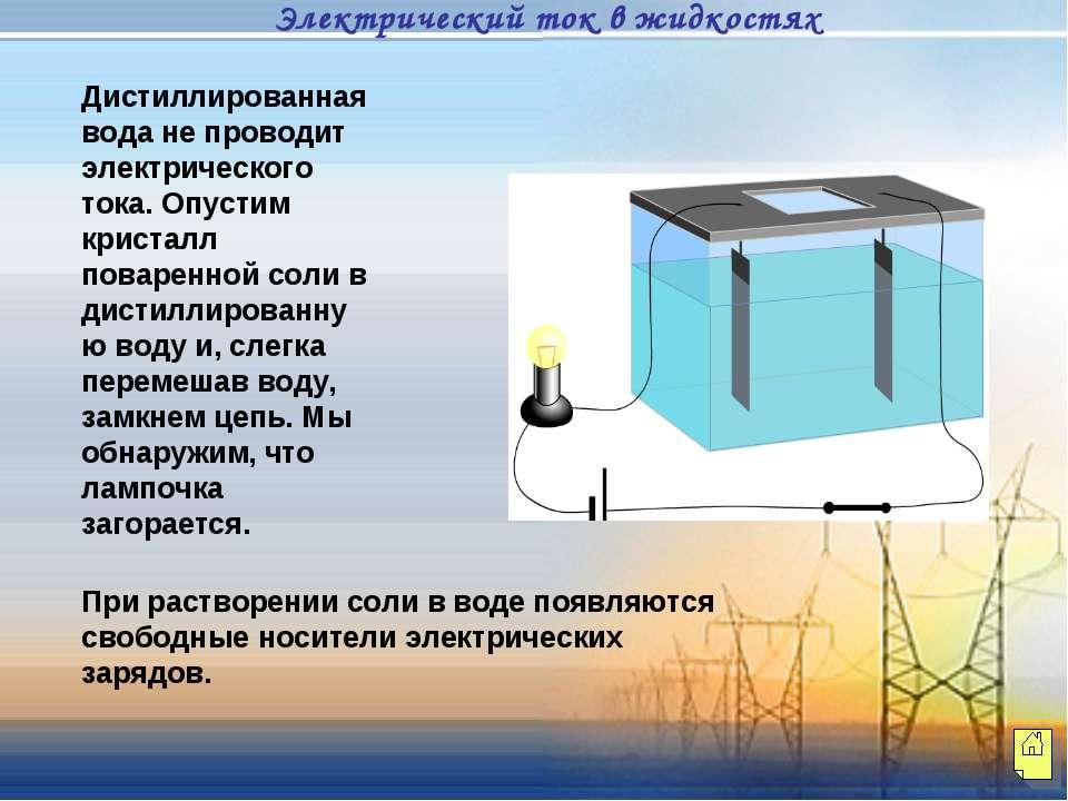 Дистиллированная вода не проводит электрического тока. Опустим кристалл повар...