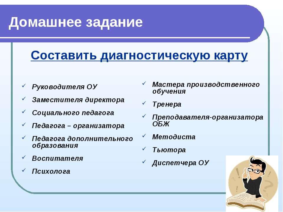 Домашнее задание Руководителя ОУ Заместителя директора Социального педагога П...