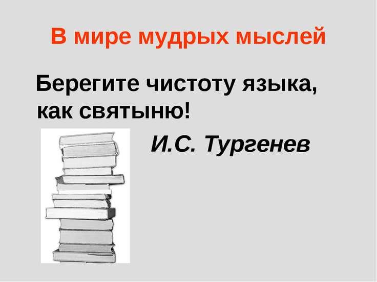 В мире мудрых мыслей Берегите чистоту языка, как святыню! И.С. Тургенев