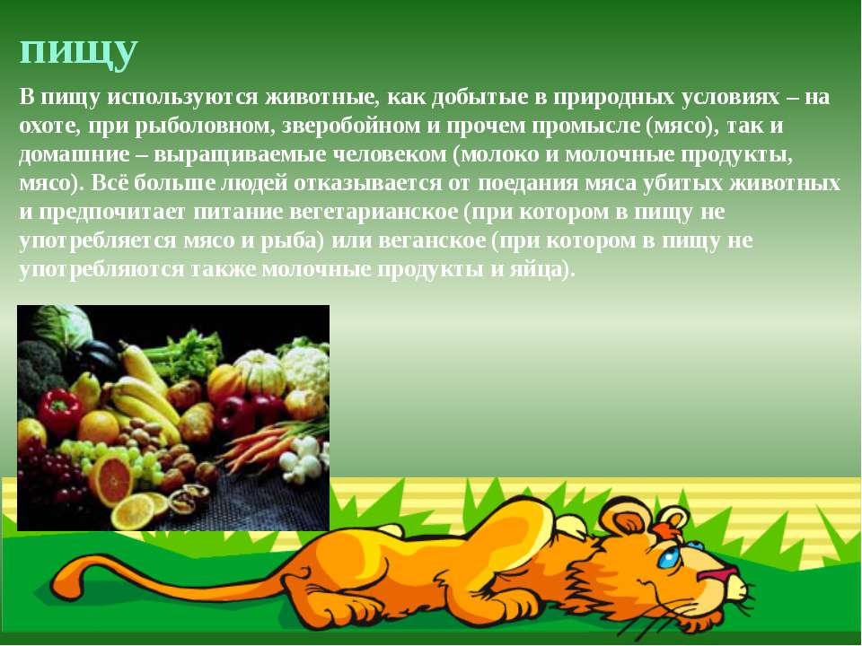 пищу В пищу используются животные, как добытые в природных условиях – на охот...