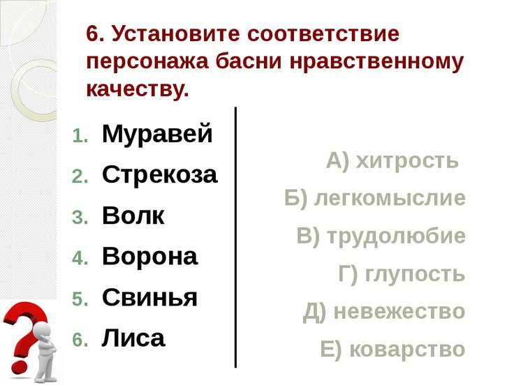 6. Установите соответствие персонажа басни нравственному качеству. Муравей Ст...