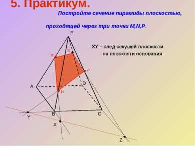 XY – след секущей плоскости на плоскости основания D C B Z Y X M N P S 5. Пра...