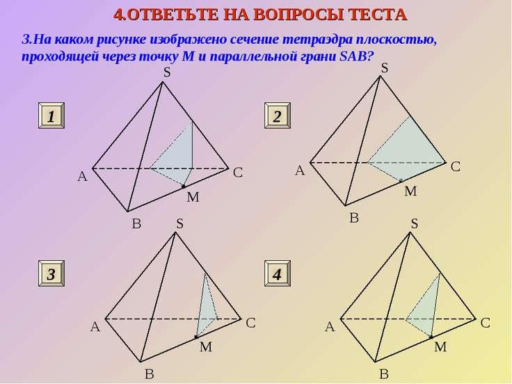 3.На каком рисунке изображено сечение тетраэдра плоскостью, проходящей через ...